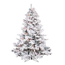 45 Foot Flocked Alaskan Artificial Christmas Tree 300 LED Multi Lights