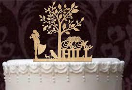 Custom Cake Topper And Labrador Retriever Chihuahua Rustic Wedding Personalized Silhouette Mr Mrs