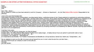 Medical fice Assistant Job fer Letter Sample