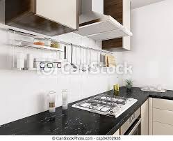 Modern White Kitchen Interior 3d Rendering Stockfoto Und Modern Kitchen Interior 3d Rendering