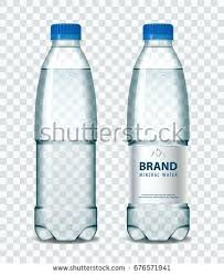 Water Bottle Transparent Background Plastic With Mineral Blue Cap On Realistic