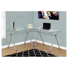 Tempered Glass Computer Desk by Tempered Glass Corner Computer Desk Silver Metal Everyroom
