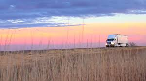 CLOSE UP: Semi Truck Driving On Empty Road In Scenic Countryside At ...
