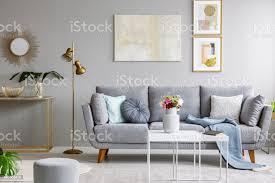 gold spiegel über regal mit pflanze innen grau wohnzimmer mit sofa und blumen auf den tisch echtes foto stockfoto und mehr bilder behaglich