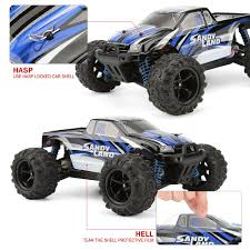 100 Monster Truck Remote Control RC Car By FUNTECH Off Road 118 Scale Electric Racing Cars 24GHz Radio RC 4WD High Speed 26 MPH Blue