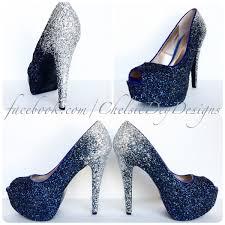 glitter high heels silver navy blue pumps ombre fade glitter
