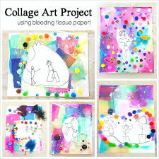 Collage Art Project For Kids Using Bleeding Tissue Paper Perfect Process Mothers Day