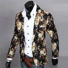 mens one button pop floral blazer casual slim fit long sleeve coat