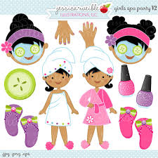 Girls Spa Party V2 Cute Digital Clipart Commercial Use OK Graphics
