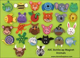 ABC Animal Bottle Cap Magnet Craft