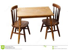Children's Child Wood Table And Chairs Isolated Stock Image ...