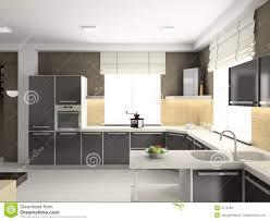 Modern White Kitchen Interior 3d Rendering Stockfoto Und 3d Render Modern Interior Of Kitchen Stock Photo Image Of