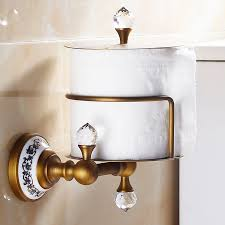 maxswan kristall messing antik messing papier box toilettenpapierhalter wc papierhalter und haken papierhalter bad accessoires