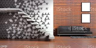 wohnzimmer interieur loft holz und beton wand treppe 3d stockfoto und mehr bilder architektur
