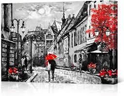 vvovv wall decor schwarz weiß und rot regenschirm kunstdruck poster romantisches decor für schlafzimmer rainy landschaft gemälde