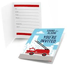 100 Fire Truck Birthday Party Invitations D Up Fill In Fighter Truck Baby Shower Or