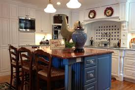 Bright French Country Kitchen Features Beautiful Blue Island