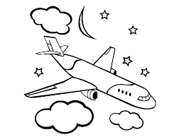 Airplane Coloring Page Printable At The Night