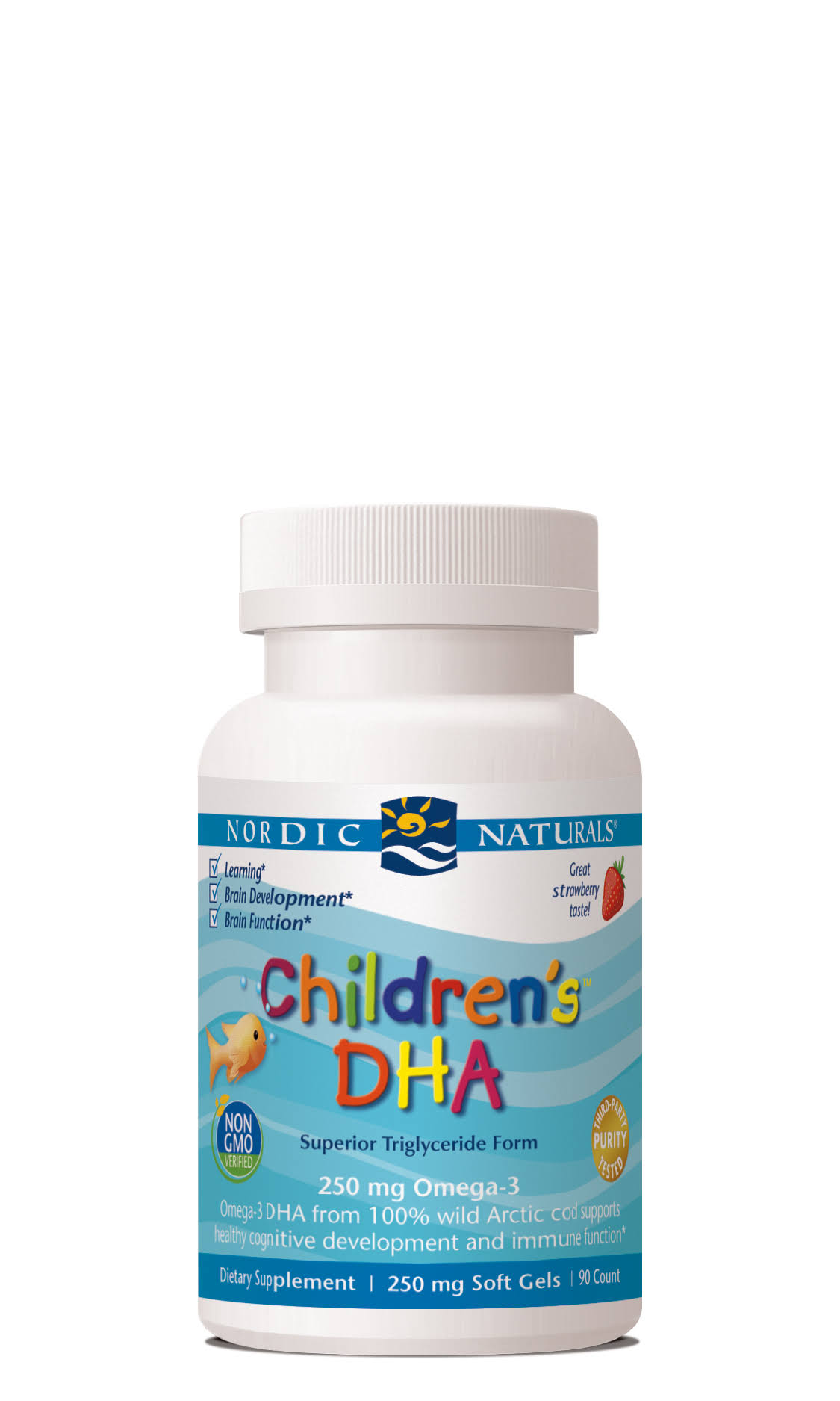 Nordic Naturals Children's DHA 250 mg Dietary Supplement - Strawberry, 90 Softgels
