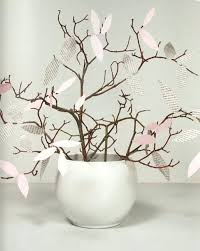 Spring Home Decor Idea Vase Branches Paper Leaves Pink Newspaper