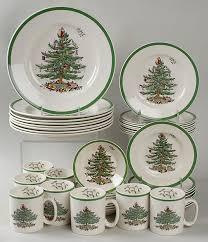 Spode Christmas Tree Green Trim 40 Piece Set At