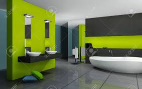 badezimmer mit modernen und zeitgenössischen design und möbel farbig in grün schwarz und cyan 3d rendering