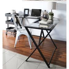 L Shaped Computer Desk by Walker Edison Glass And Metal X Frame Corner Computer Desk Black
