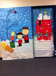 Classroom Christmas Door Decorating Contest Ideas by Christmas Classroom Door Do Xmas Lights Patterning On Snoopy U0027s