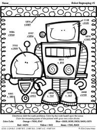 Robot Regrouping Addition Math Printables Color By The Code Puzzles