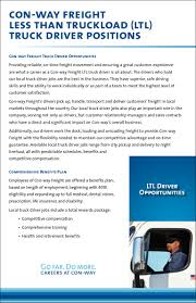 CON-WAY FREIGHT (LTL) Less Than Truckload -Truck Driver Positions In Driver Recruiting Ai Gets Real Transport Topics Jobs Verspeeten Cartage Ingersoll On J B Hunt Local Part Time Truck Driving Youtube Local Truck Driving Jobs Bakersfield Ca And Job Listings Drive Jb Massachusetts Cdl In Ma Tacoma Wa Resume For Dazzling 20 Uber Description How To Write A Perfect With Examples Cv Driverjob Cdl 18 Year Olds