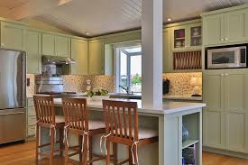 Country Kitchen With Bay Window L Shaped Island Flat Panel Cabinets