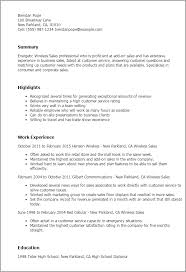 Resume Templates Wireless Sales