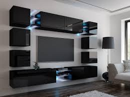 wohnwand edge schwarz hochglanz schwarz mediawand medienwand design modern led beleuchtung mdf hochglanz hängewand hängeschrank tv wand
