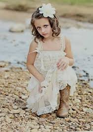 Champagne Lace Rustic Flower Girl Dress Country Chic Wedding