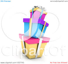 Clip Art Illustration A 3D Stack Colorful Birthday Gift Boxes B1jmwg Clipart