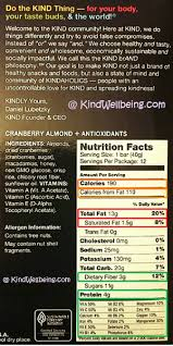 Kind Bars Box Label KindWellbeing Nutrition Facts