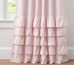 Light Pink Ruffle Blackout Curtains by Evelyn Linen Blend Ruffle Bottom Blackout Panel Pottery Barn