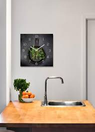 levandeo wanduhr glas 30x30cm glasuhr uhr glasbild kräuter küchenuhr küche deko