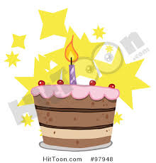 Royalty Free RF Clipart Illustration of a Tiered Birthday Cake with e Candle