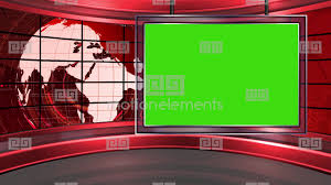 HD News 20 TV Virtual Studio Green Screen Background Red Stock Video