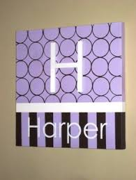 Wall Words Hand Painted Wood On Canvas 12 X Initial And