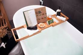Bamboo Bathtub Caddy With Reading Rack by Premium Bamboo Bathtub Caddy Tray Pristine Bamboo