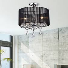 lights black and chrome semi flush mount chandelier p