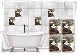 fliesen aufkleber fliesen bild blume kerzen holz spa wellness braun grau bad wc deko