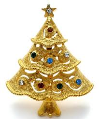 Vintage Rhinestone Christmas Tree Pin Brooch JJ The Jewelry Ladys Store
