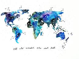 Watercolor Map Our Wonderful World By AQuartzyLife