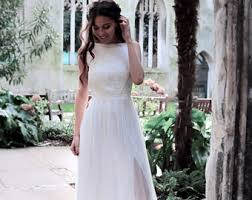 Simple Wedding Dress Made Of Silk Chiffon And Lace Elegant Boho Gown With