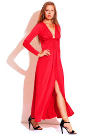 red deep v neck knot high slit long sleeve formal evening party