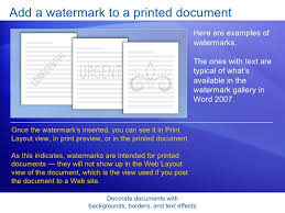 8 Add A Watermark To Printed Document Decorate Documents With Backgrounds