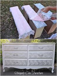 How To Give An Old Dresser Amazing Lace Makeover DIY Furniture Ideas Great Idea For A Shabby Chic Room Or Painted The Little Girls
